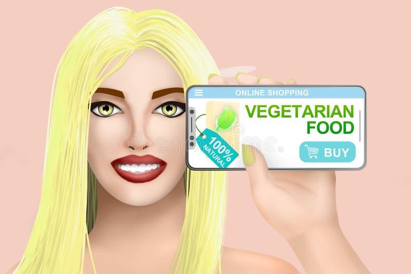 Alimento biol?gico em linha do vegetariano da compra do conceito Menina bonita tirada no fundo brilhante Ilustra??o ilustração royalty free
