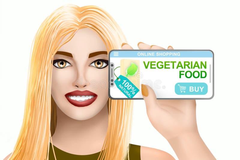 Alimento biol?gico em linha do vegetariano da compra do conceito Menina bonita tirada no fundo colorido Ilustra??o ilustração do vetor