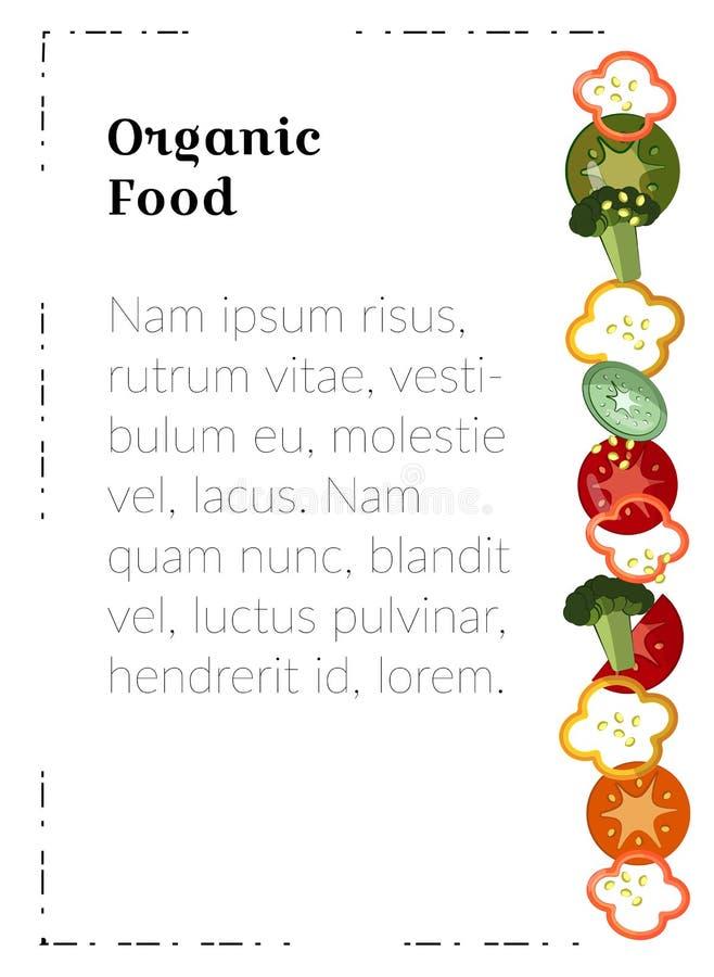 Alimento biol?gico Molde do cartaz A4 Alimento para materiais de mercado Pimentas, tomates, brócolis - vegetais lisos para a ilustração royalty free