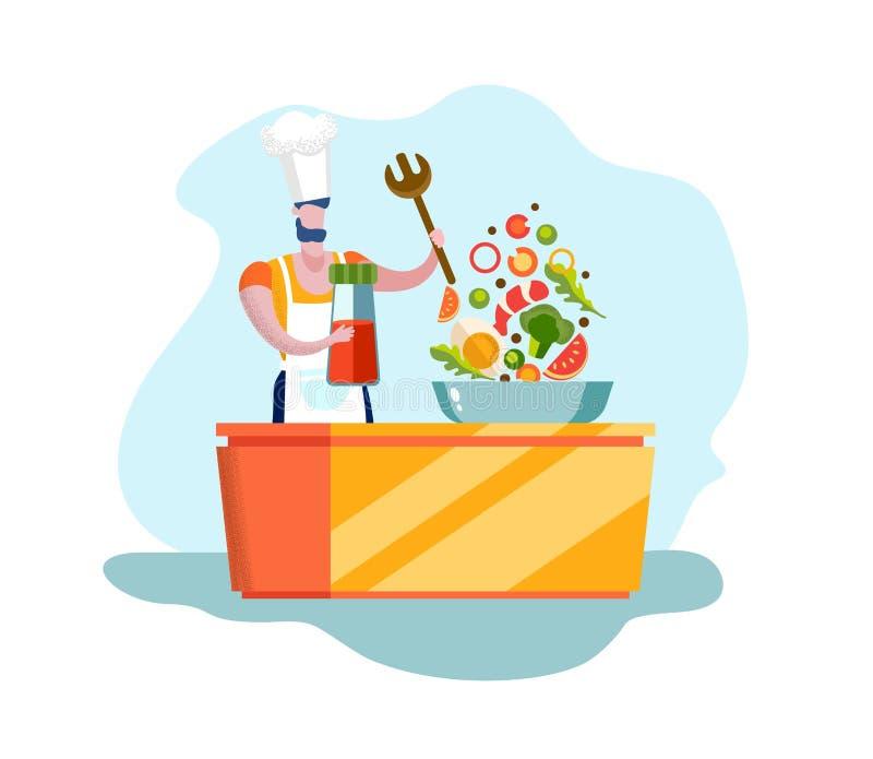 Alimento biologico di Character Cooking Healthy del cuoco unico dell'uomo illustrazione vettoriale