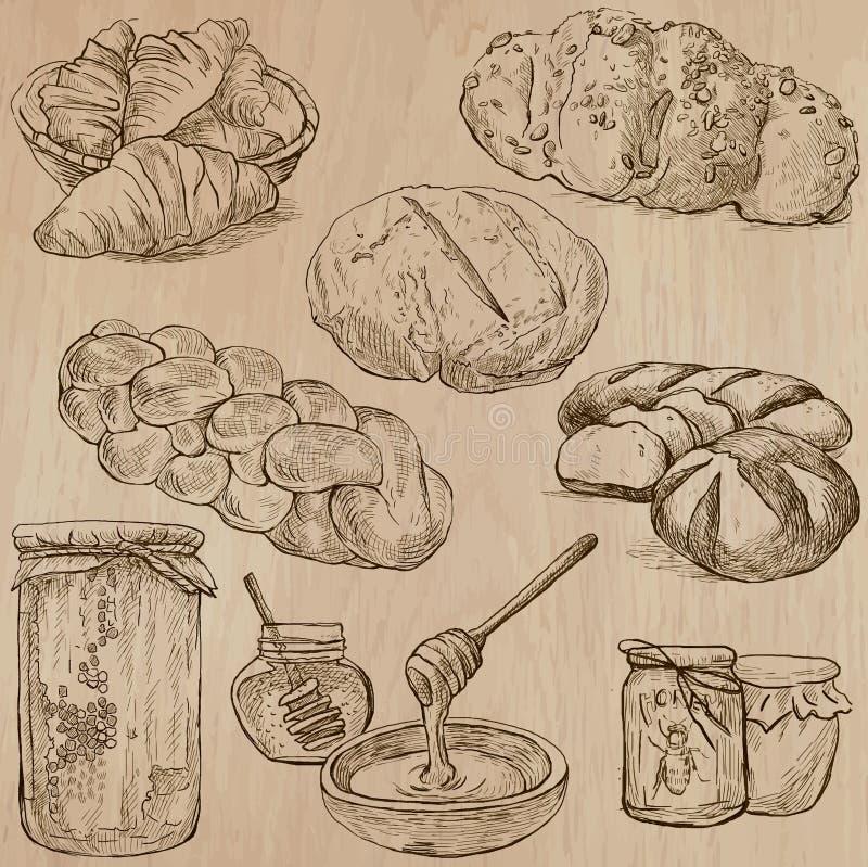 Alimento - bloco tirado mão do vetor ilustração stock