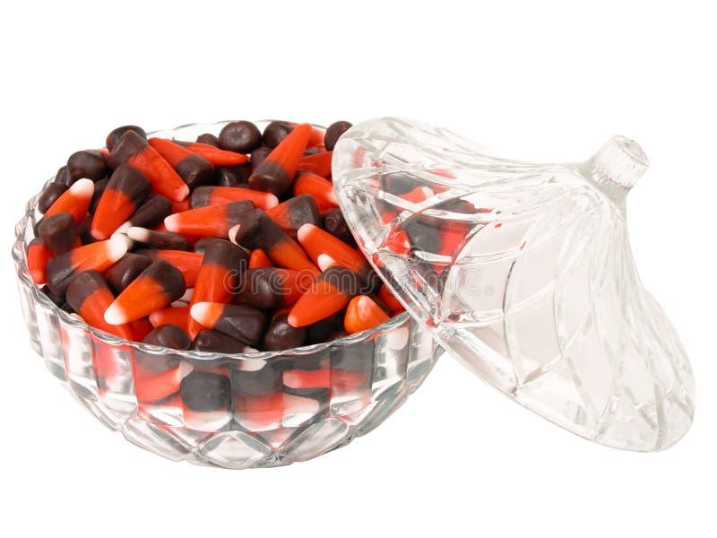 Alimento: Caramella Del Granturco In Un Piatto Di Vetro Decorativo Fotografia Stock Libera da Diritti