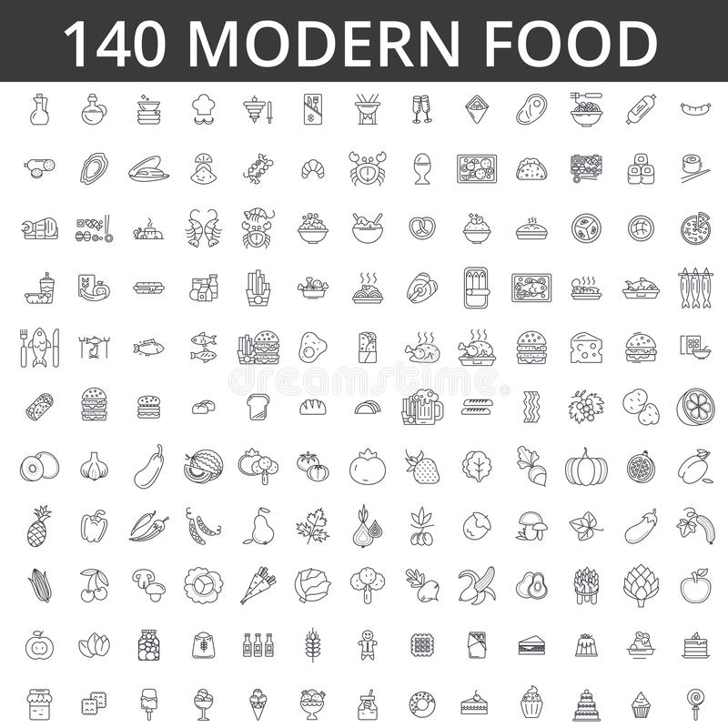 Alimento, carne, verdura, frutta, pollo fritto, pesce fresco, pasto, dieta organica, via, mangiante, gastronomie, linea culinaria illustrazione vettoriale