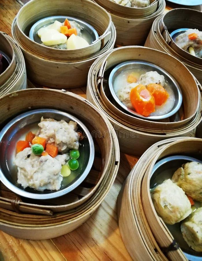 Alimento chinês da rua em Tailândia, Dim Sum fotos de stock royalty free