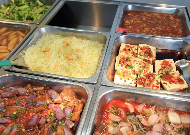 Alimento chinês do bufete do fast food fotografia de stock