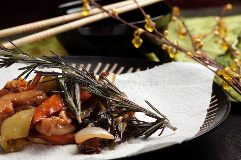Alimento chino - pollo de Szechuan fotografía de archivo