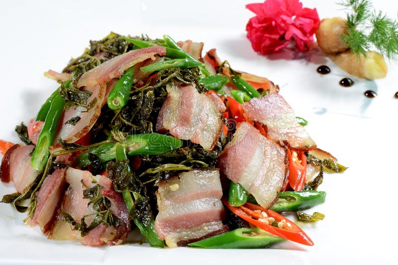 Alimento cinese: Fried Bacon fotografie stock libere da diritti
