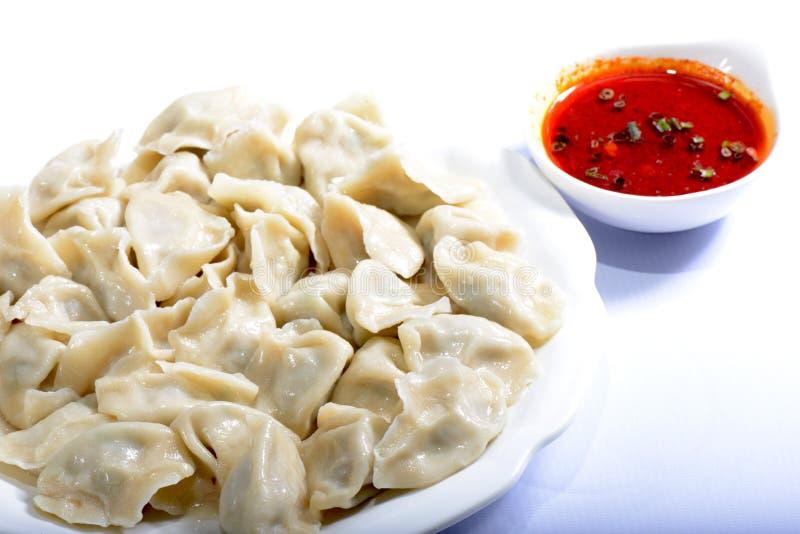Alimento cinese: gnocchi bolliti fotografia stock