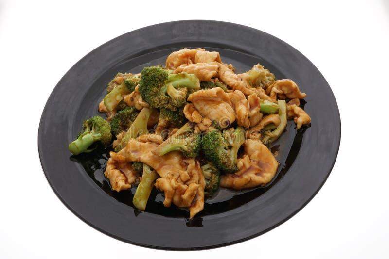 Alimento cinese Pollo con i broccoli e le verdure fotografie stock libere da diritti