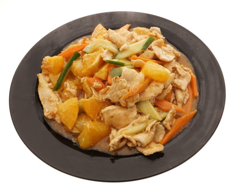 Alimento cinese Pollo con l'arancia e le verdure fotografia stock libera da diritti