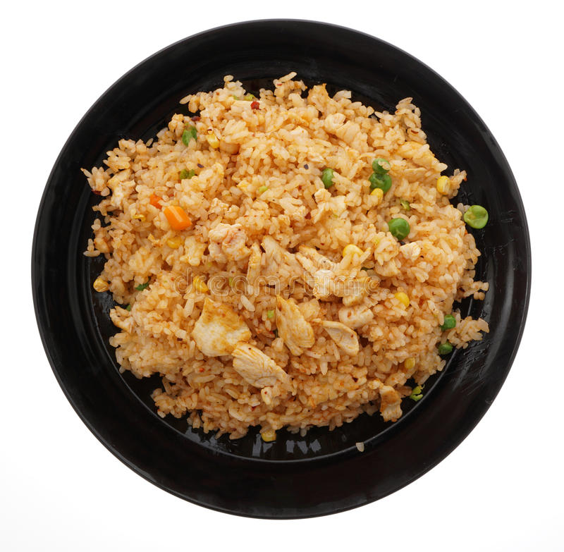 Alimento cinese Riso caldo con il pollo e le verdure fotografia stock