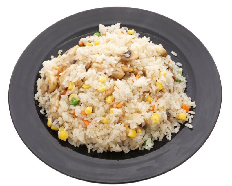 Alimento cinese Riso con i funghi e le verdure immagine stock libera da diritti