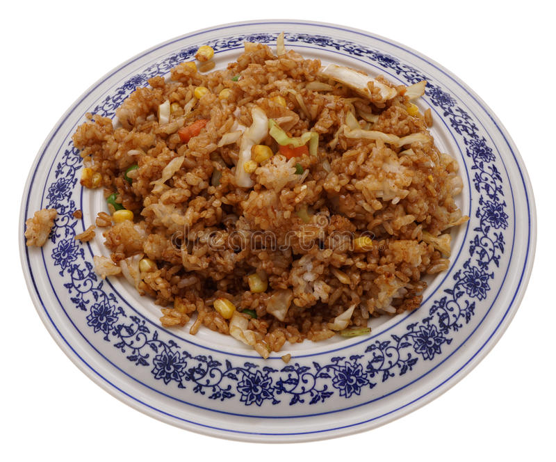 Alimento cinese Riso con le verdure in salsa di soia immagini stock libere da diritti