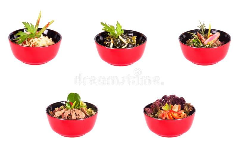 Alimento cinese in una collezione rossa della zolla immagine stock libera da diritti