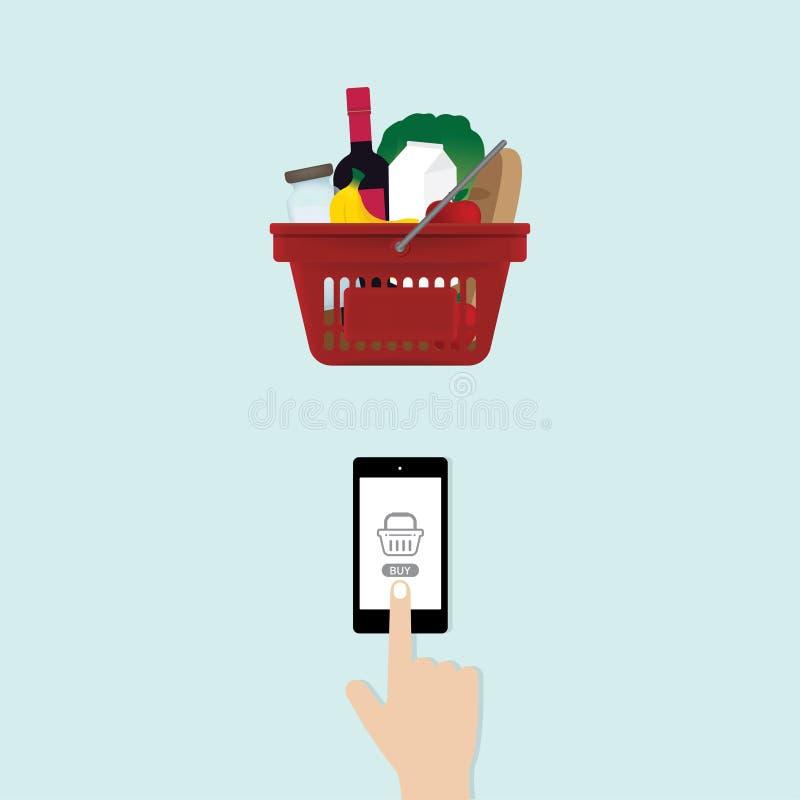 Alimento commovente di acquisto dello schermo dello smartphone della mano online illustrazione di stock