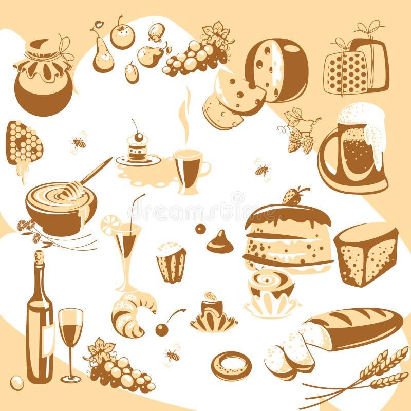 Alimento. conjuntos de la cocina, stock de ilustración