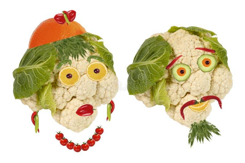 Alimento creativo Viejo hombre del retrato dos hecho de verduras fotos de archivo libres de regalías