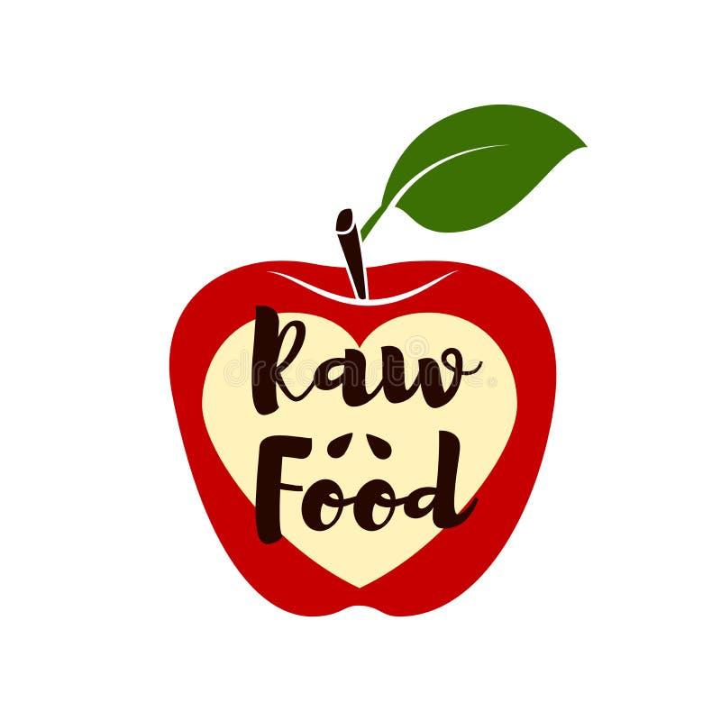 Alimento cru Apple de vermelho, do verde, mordido e da metade do fruto com folha ilustração royalty free