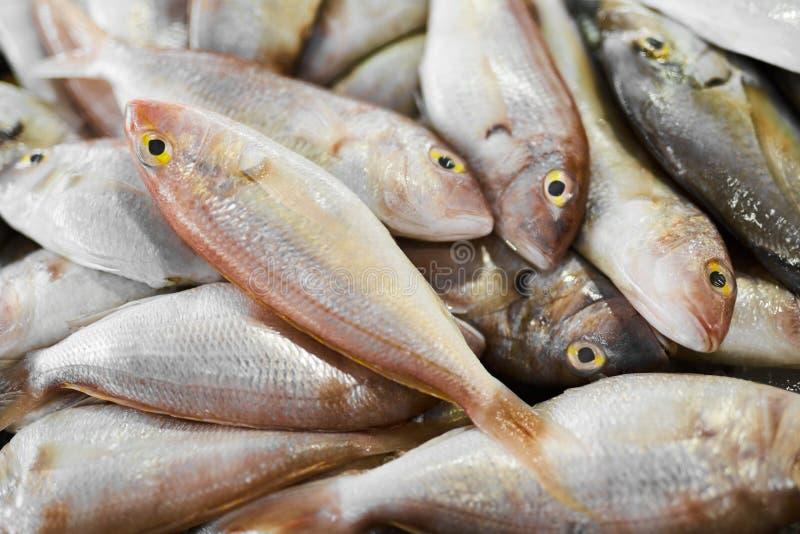 alimento cru fresco Peixes no mercado Marisco Nutrição saudável imagem de stock
