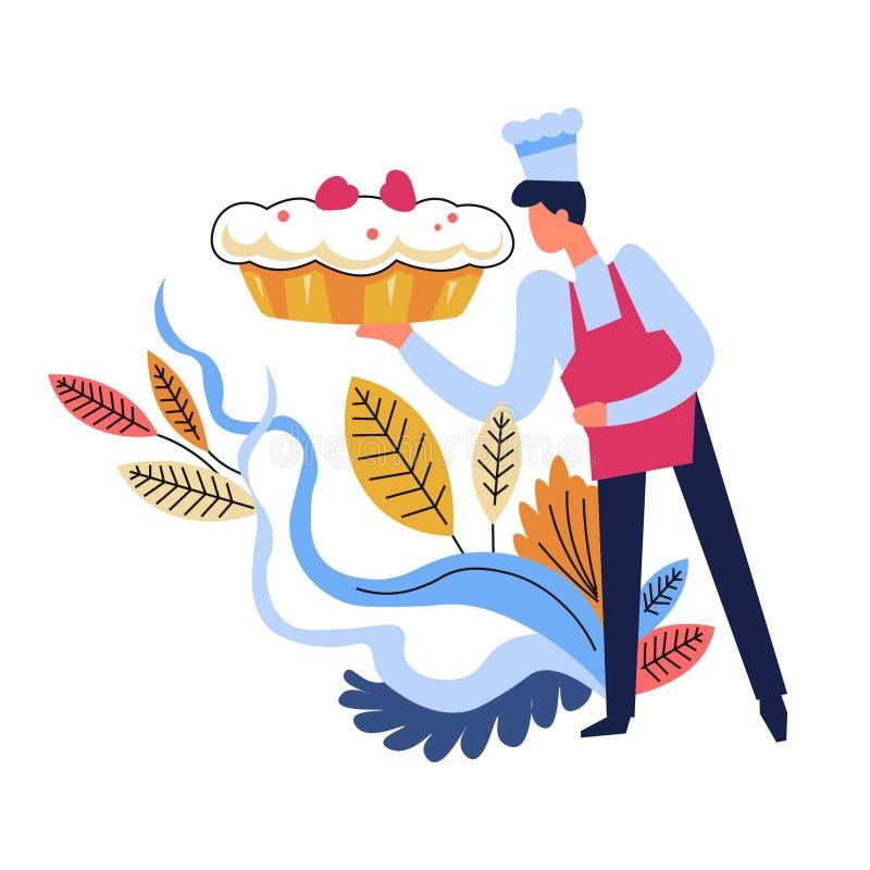 Alimento cucinato dal cappello d'uso del cuoco unico, decorazione floreale royalty illustrazione gratis