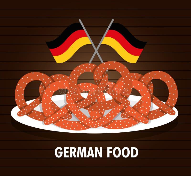 Alimento da placa da bandeira do pretzel germany Gráfico de vetor ilustração stock