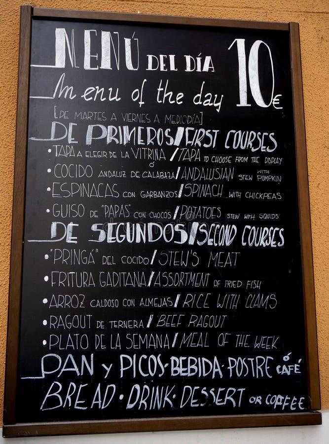 Alimento da placa do menu da Espanha fotos de stock royalty free