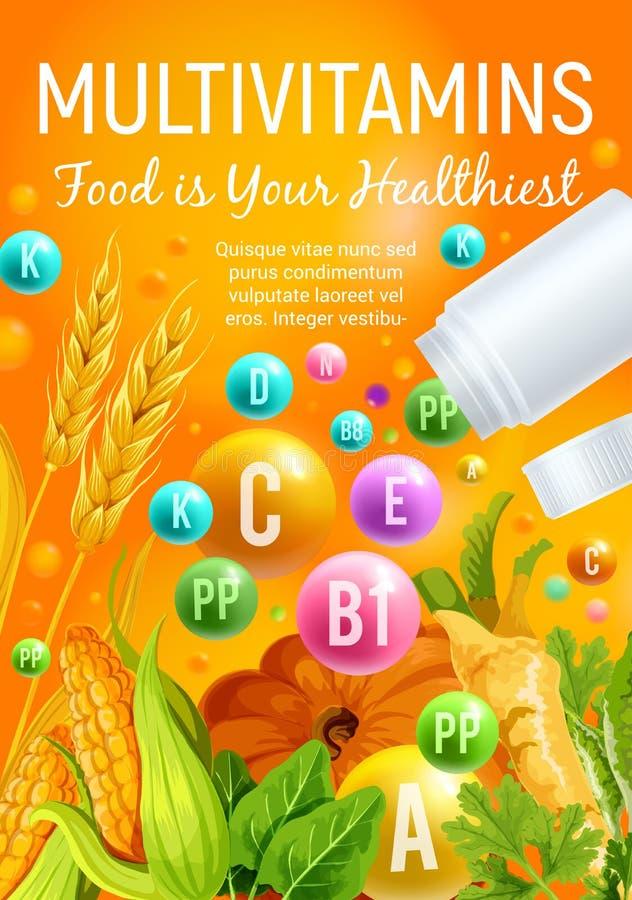 Alimento da vitamina com vegetal, cereal e ervas ilustração royalty free