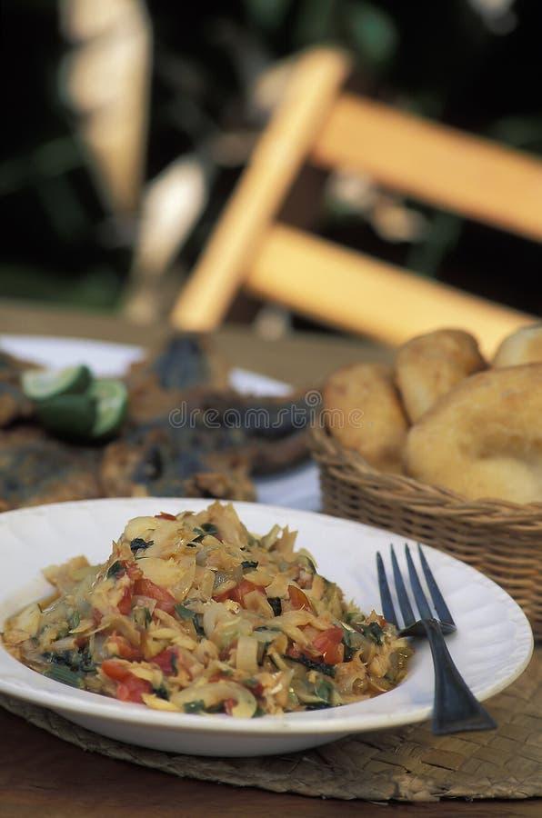 Alimento das caraíbas: Buljol foto de stock