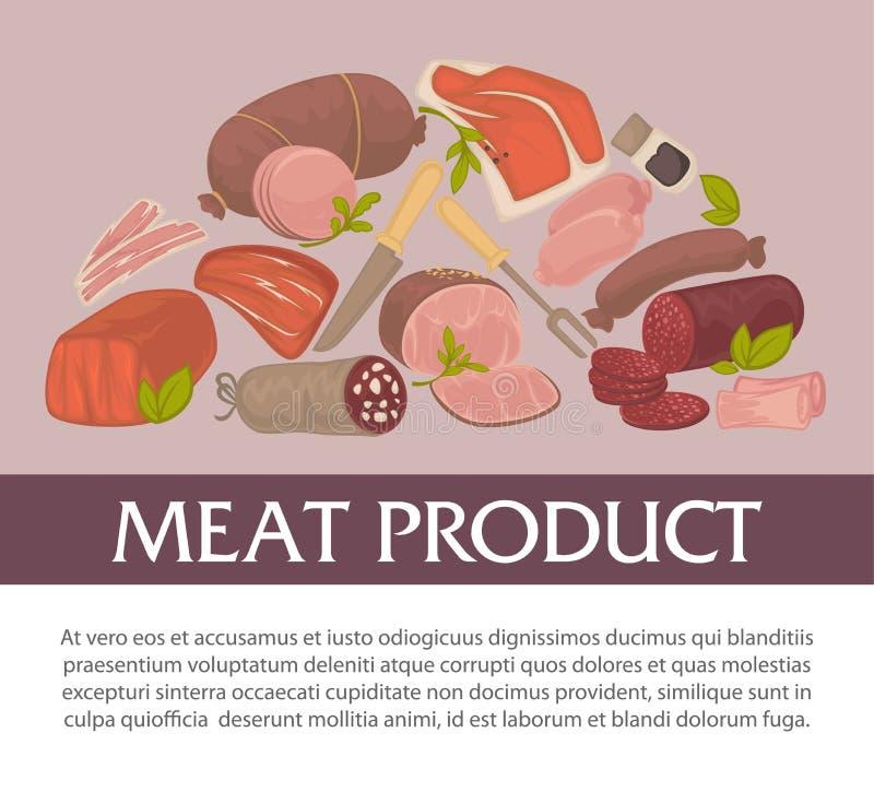 Alimento das ervas e das especiarias da loja do açougue do produto de carne ilustração do vetor