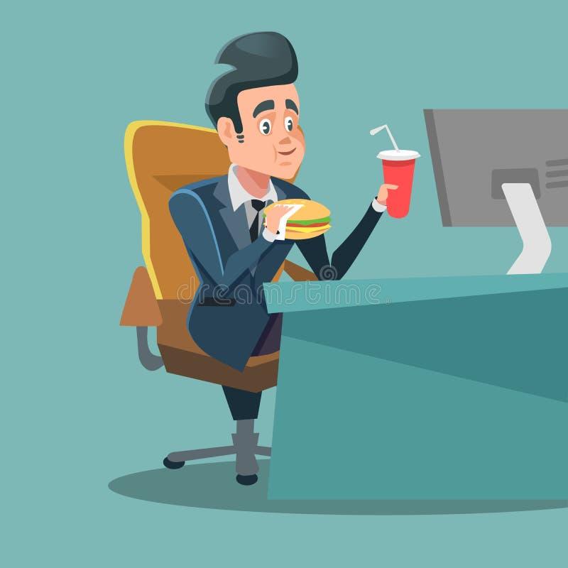 Alimento de Cartoon Eating Fast do homem de negócios no lugar de trabalho do escritório Comer insalubre ilustração royalty free