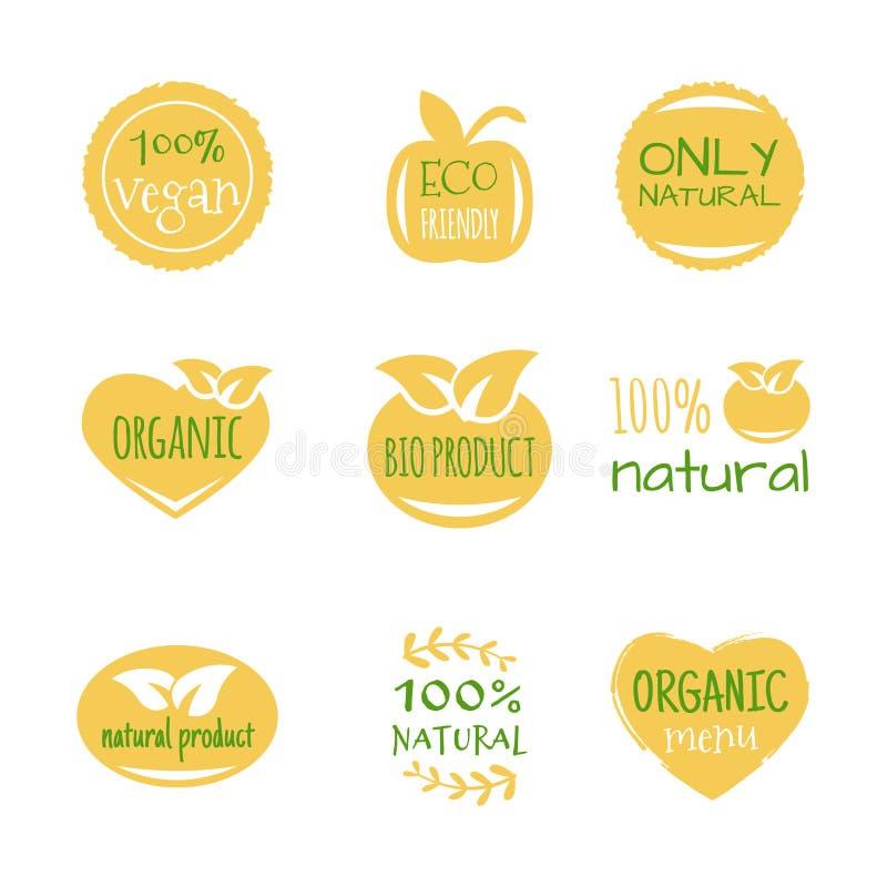 Alimento de Eco, bio produtos orgânicos, eco amigável, ícones do vegetariano, ecologia Ajuste dos elementos do projeto do logotip ilustração royalty free