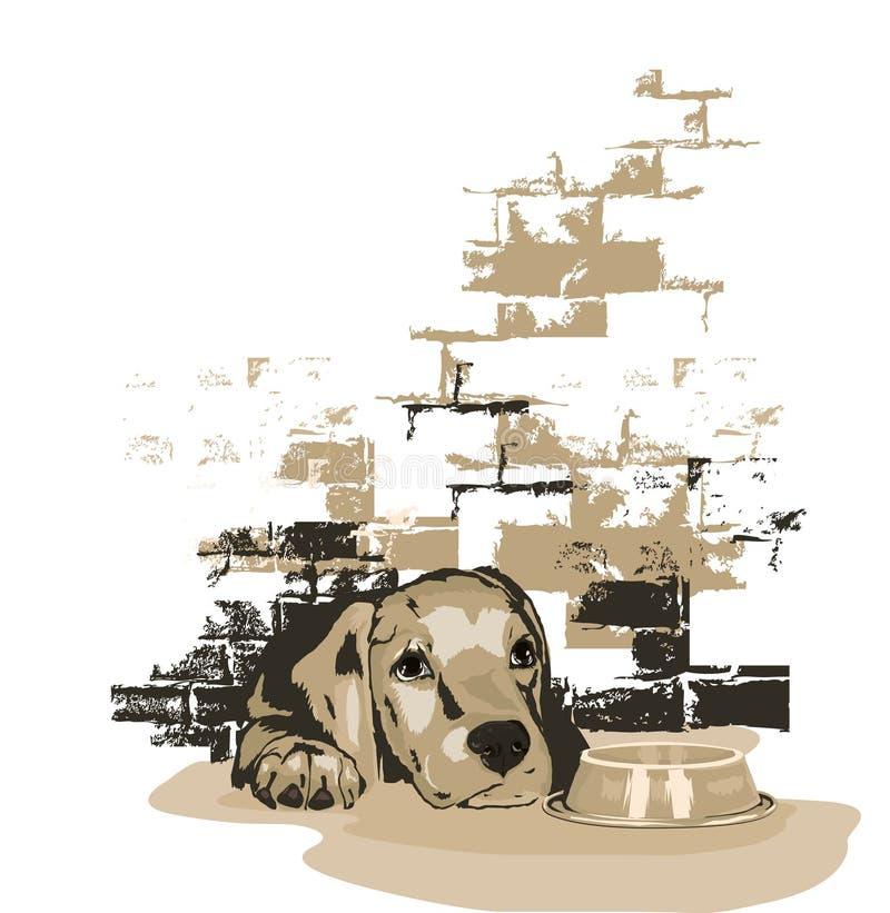 Alimento de espera do doggy pequeno ilustração do vetor