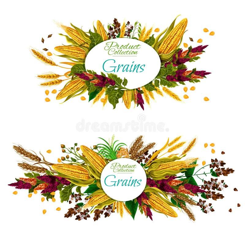 Alimento de grões Cereal, vegetal e sementes ilustração royalty free