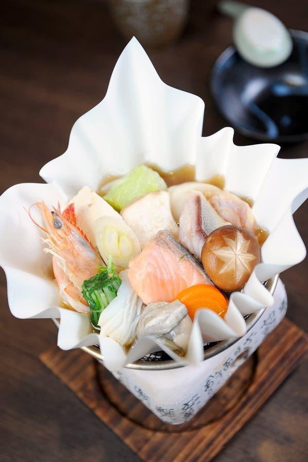 Alimento de Japão - sopa do marisco fotografia de stock