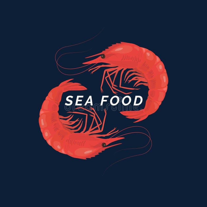 Alimento de mar conceptual moderno do logotipo do vetor com camarões ilustração royalty free