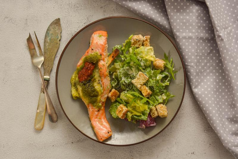 Alimento de mar Salmones cocidos y ensalada sana Visi?n superior Alimento sano imágenes de archivo libres de regalías