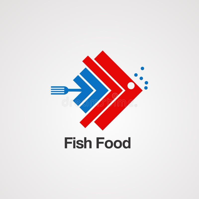 Alimento de peixes com vetor, ícone, elemento, e molde do logotipo do conceito dos gráficos para a empresa ilustração royalty free