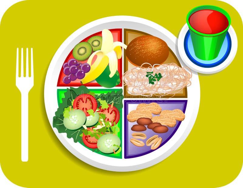 Alimento del almuerzo del vegano mi placa stock de ilustración