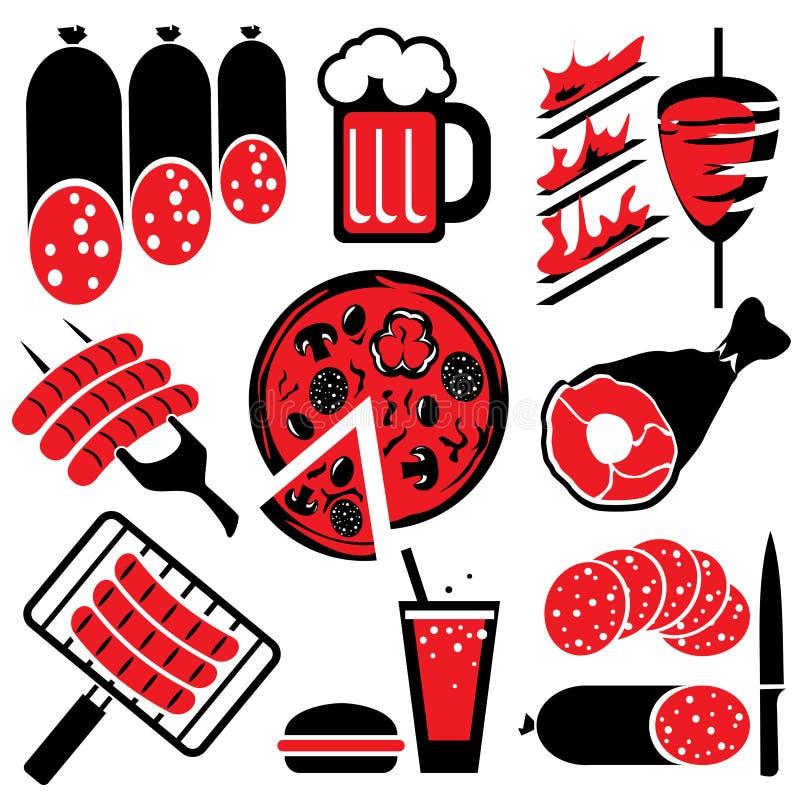 alimento del barbecue delle icone illustrazione di stock