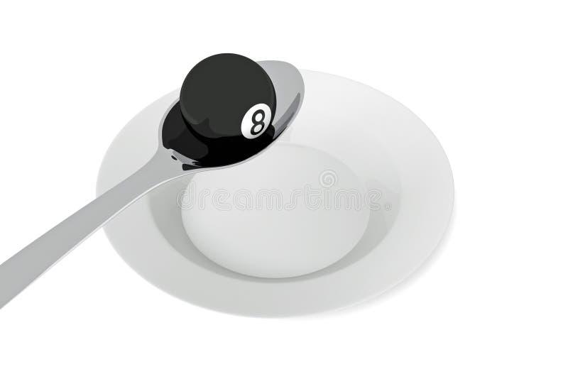 Alimento del biliardo: palla da biliardo con il cucchiaio, illustrazione 3d illustrazione di stock