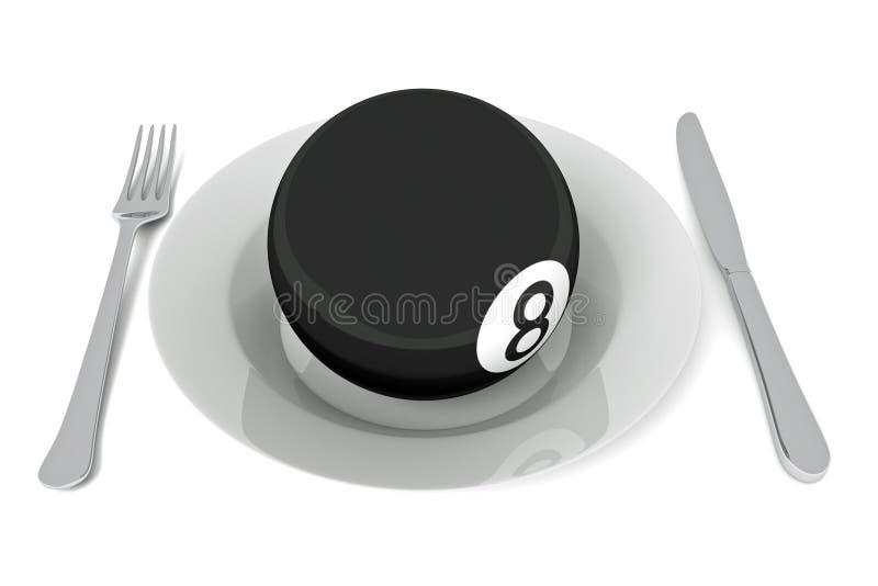 Alimento del biliardo: palla da biliardo con la coltelleria, illustrazione 3d royalty illustrazione gratis