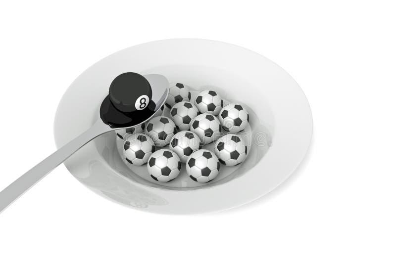 Alimento del biliardo: palla da biliardo e palloni da calcio con il cucchiaio, illustrazione 3d royalty illustrazione gratis
