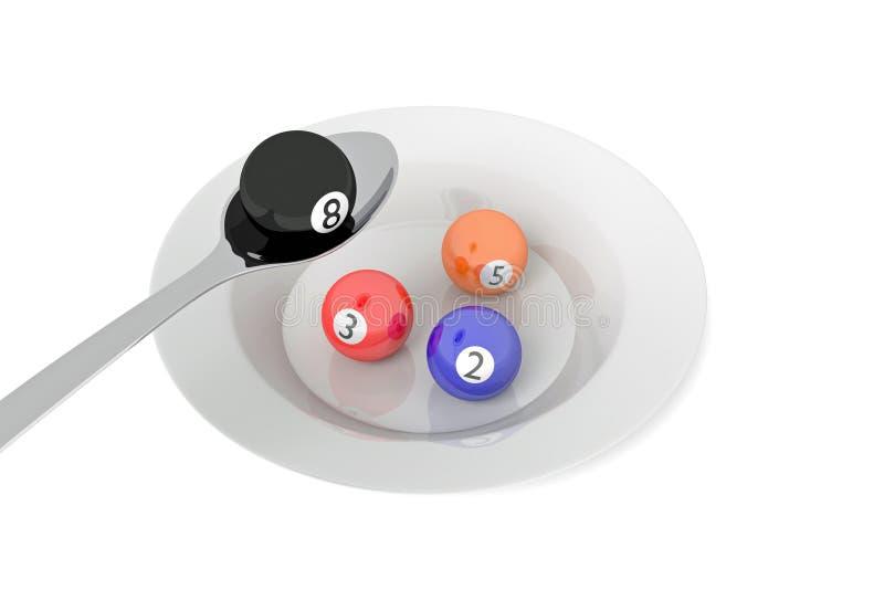 Alimento del biliardo: palle da biliardo con il cucchiaio, illustrazione 3d royalty illustrazione gratis
