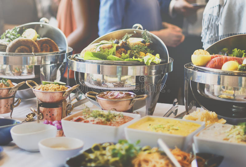 Alimento del brunch del buffet che mangia caffè festivo che pranza concetto immagini stock libere da diritti