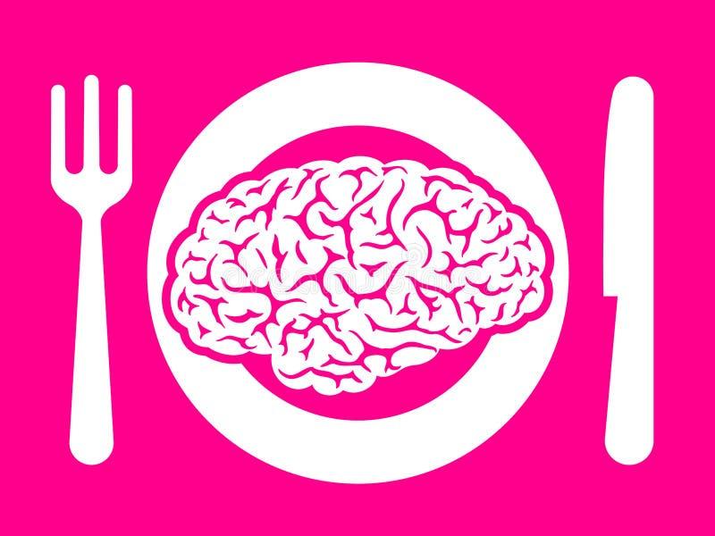 Alimento del cerebro en la placa con la fork y el cuchillo libre illustration