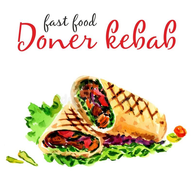 Alimento del turco de Doner Kebab Alimento sano de los alimentos de preparaci?n r?pida y de la calle - stock de ilustración