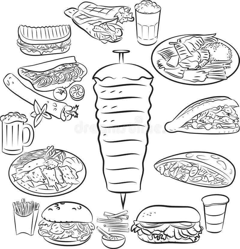 Alimento del turco di Doner Kebab illustrazione vettoriale