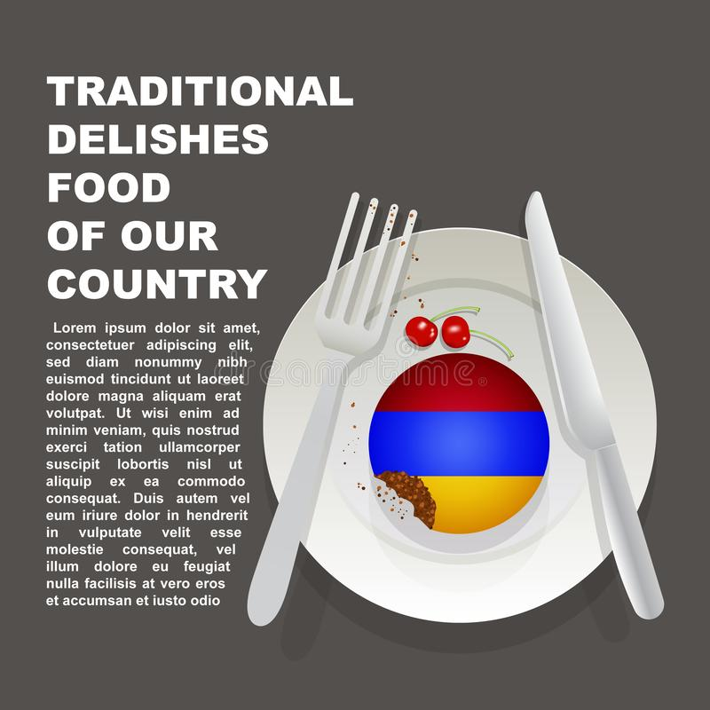 Alimento delicioso tradicional do cartaz do país de Armênia Sobremesa nacional asiática Bolo da ilustração do vetor com a bandeir ilustração do vetor