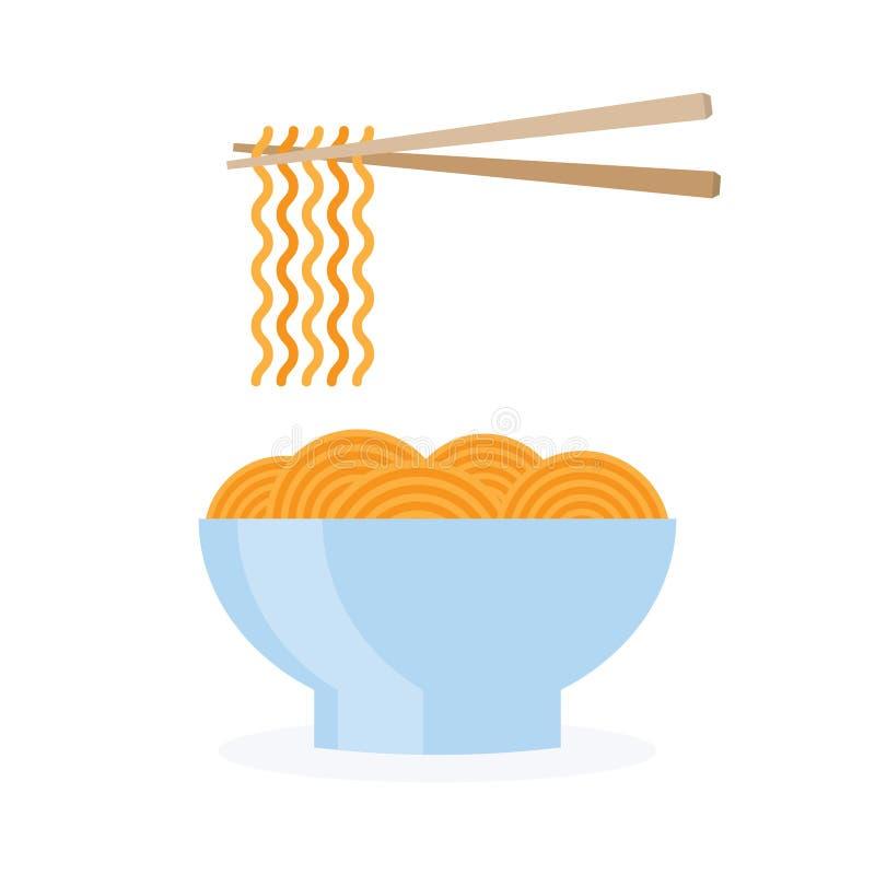 Alimento della ciotola della tagliatella dell'Asia illustrazione di stock