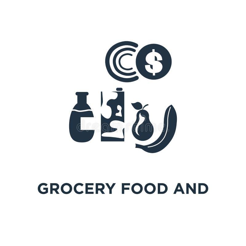 alimento della drogheria ed icona della bevanda mucchio dei prodotti, progettazione sottile di simbolo di concetto del colpo, con illustrazione vettoriale